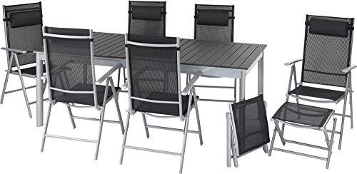 ib style®Polywood Gartengarnitur | Tisch+ 6X Klappstuhl Jamaica+2X Fußbank |pflegeleicht und witterungsbeständig | Tisch: 156-212x90cm