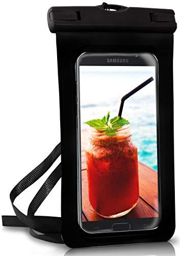 ONEFLOW® wasserdichte Handy-Hülle für Samsung A + J Reihe | Touch- & Kamera-Fenster + Armband und Schlaufe zum Umhängen, Schwarz (Ocean-Black)