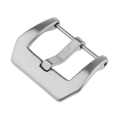 Prettyia Uhrenarmbänder Bänder Edelstahl Schnalle Uhr Verschluss Dornschließe aus Edelstahl- Größe Auswahl - Gebürstetes Silber - 22mm
