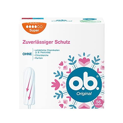 o.b. Original Super, Tampons für starke Tage mit StayDry Technologie und geschwungenen Rillen, für zuverlässigen Schutz und ein sauberes Gefühl (1 x 56 Stück)