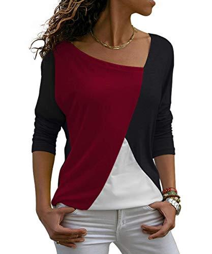 Damen Oberteile V-Ausschnitt Langarmshirt Casual Farbblock T-Shirt Tunika Top Bluse (321-Wine(Langarm), XX-Large)