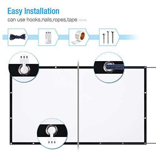 120 Inch Projector Screen, Powerextra 16:9 HD 4K Foldable Anti-Crease Portable Projector Screen for Home Theater Indoor…