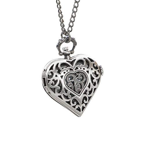 Unisex-Taschen-Uhr-Weinlese-Analog-Quarz-Herz-geformte Taschenuhr Filigree Blumen-Halskette-hängende Strickjacke-Ketten-Silber