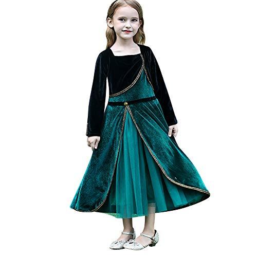 IBAKOM Kinder Mädchen Prinzessin Anna Kostüm ELSA Kleid Schneekönigin Karneval Weihnachten Halloween Cosplay Party Geburtstag Outfit Samt...