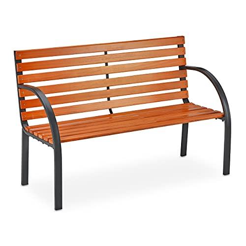 Relaxdays Gartenbank, 2 Sitzer, Holzstreben, rustikal, Balkon & Terrasse, Sitzbank, HBT 83,5x123x56 cm, braun/schwarz