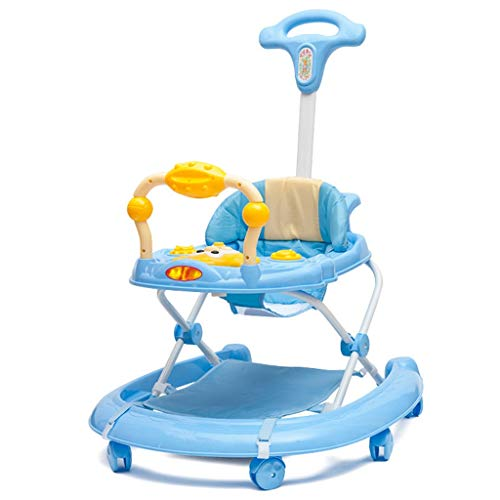 Cochecito de caminante de bebé plegable con altura ajustable, juguetes de iluminación de música, anti-rollover evitando o-patas, cojín de asiento transpirable desmontable, respaldo elevado, material s