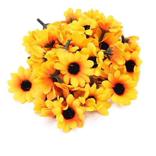 N/H Decoración de cabeza de flor, 100 piezas de girasol artificial (amarillo)