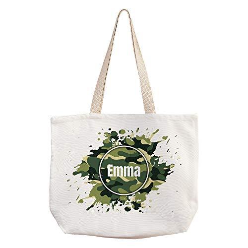 LolaPix Personalisierte Handtasche Damen mit Name/Text. Personalisierte Geschenke. Verschiedene Designs. 40x33. Nature Tasche. Tarnung