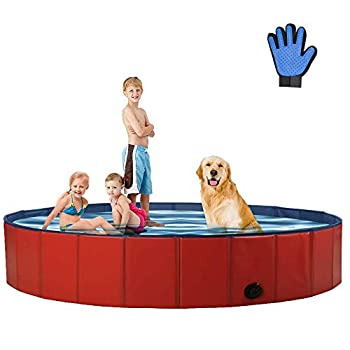 Petybety Foldable Dog Pool Collapsible Hard Plastic Pet Bath Pool Portable Swimming Bath Tub for Kids Kiddie Dogs and Cats Wading Pool for Outdoor and Indoor