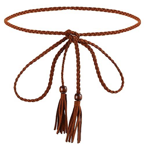 Cinturón Trenzado Fino Bohemio de Moda Cinturón con Borlas para Mujer (Café)