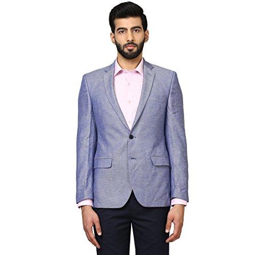 Raymond Full Sleeve Medium Blue Cotton Blend Slim Fit Blazer for Men