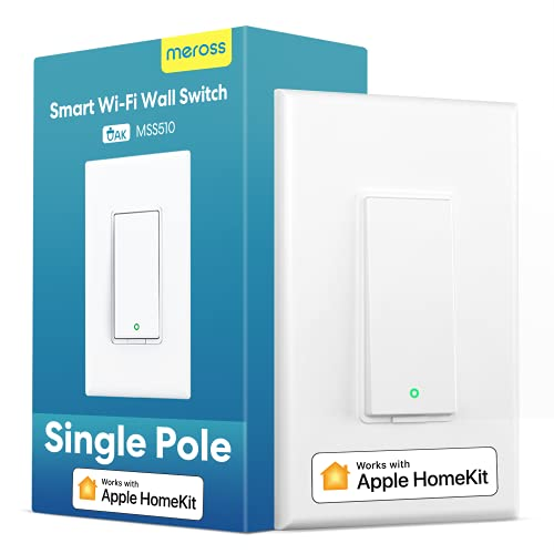 meross Smart Light Switch Supports Apple HomeKit, Siri, Alexa, Google Assistant & SmartThings, 2.4Ghz Wi-Fi Light Switch, Neutral Wire Required, Single Pole, Remote Control Schedule,1 Pack