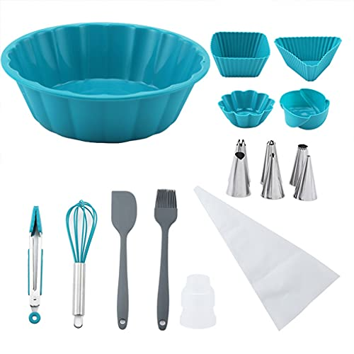 Xiuinserty - Accesorios para decoración de tartas, juego de utensilios de horneado y accesorios con manga pastelera y moldes para magdalenas para amantes de la tarta y principiantes
