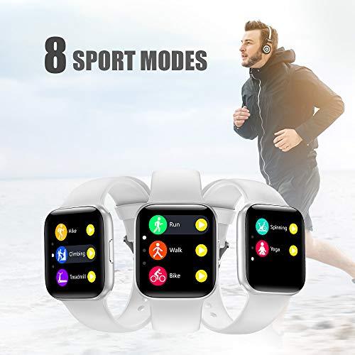 NAIXUES Smartwatch, Reloj Inteligente IP68 para Mujer Hombre, Reloj Deportivo con Monitor de Sueño Pulsómetro Podómetro Notifica Whatsapp, Pulsera Actividad Inteligente para Android iOS (Blanco) miniatura