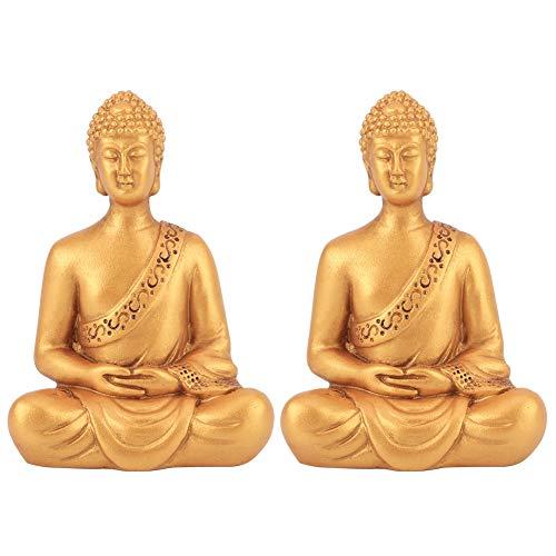 Yosoo123 2Pcs / Set Chinese Buddha Statue Ornaments Meditation Sitting Buddha Statue Home Ornaments Chinese Buddha Statue Ornaments Home Furnishings Reclining Buddha Ornaments Gold