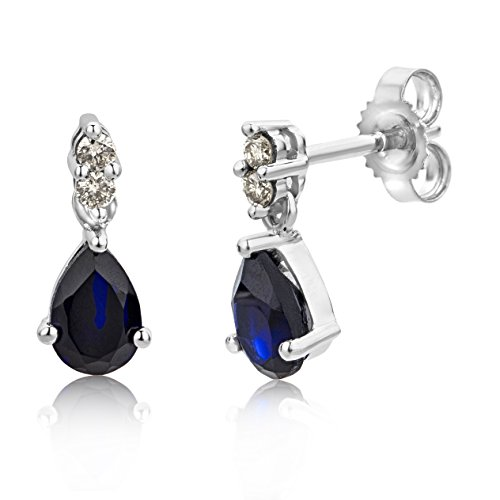 Miore drop earrings in 9 kt 375 white gold with pear shape blue sapphire and brilliant cut diamonds of 0.08 ct