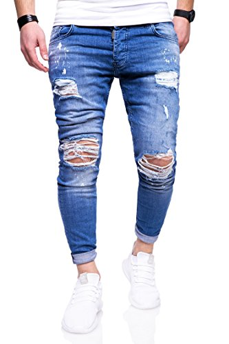 Rello & Reese Herren Destroyed Jeans Hose JN-3296 [Blau, W33/L32]