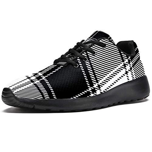 imobaby Sport-Laufschuhe für Damen, kariert, Schwarz und Weiß, modische Sneaker, Netzstoff, atmungsaktiv, Wandern, Tennisschuh, Mehrfarbig - mehrfarbig - Größe: 37 EU