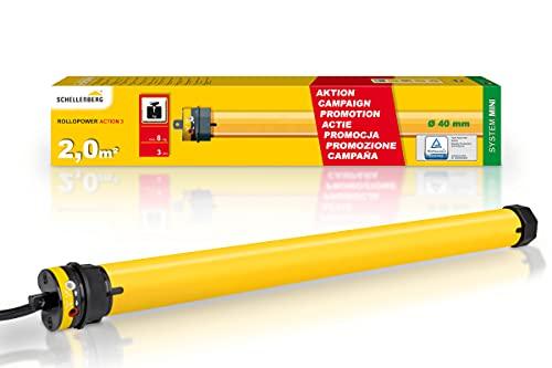Schellenberg 20221 Rolladenmotor Action Mini für 40 mm Stahlrohrwellen, SW 40, ideal für Kunststoff Rolladen bis 2 m² Fläche, Rolladenantrieb