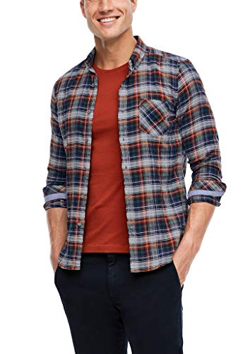 s.Oliver Herren 130.10.008.11.120.2055704 Hemd, Light Grey/Dark Blue Check, XL