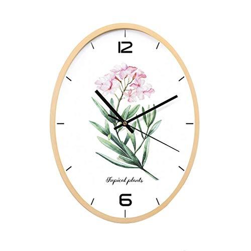 FFCVTDXIA Reloj Moderno Flor patrón Pared Fresco Pared decoración Verde de Madera Restaurante Dormitorio Sala de Estar Sala de Estar Sitio de Regalo Mudo Ideas zhihao