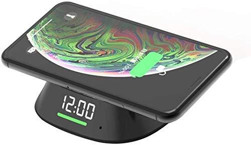 MRTYU-UY Cargador inalámbrico con Reloj, Tiempo de visualización de Carga rápida inalámbrica de 10 W, Soporte para teléfono móvil para iPhone XS MAX XR XS X 8 Plus, para Samsung S10 S9 S8