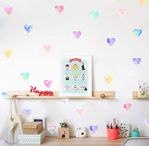 Colorful Heart Wall Decals Hearts Wall Sticker Watercolor Heart Wall Decals for Bedroom Girls Nursery Room Decor