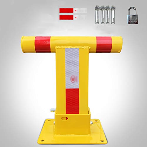 Car Parking Space Lock Bollard Yellow and Red T Shape, Heavy Duty Fold Down Metal Bollard for Security Driveway Parking
