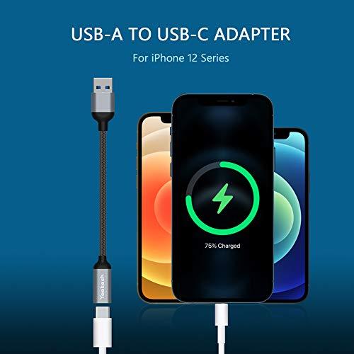 Yootech USB 3.1/3.0 auf USB C Adapter aus Nylon Flechtkabel (2 Pack), Aluminium OTG USB C Adapter Beide Seiten 3.1 5 Gbit/s, USB C Buchse auf USB Stecker kompatibel mit MacBook, iPhone, Samsung usw.