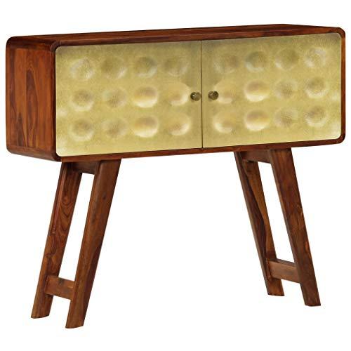 Festnight Mueble de Entrada Recibidor Aparador Salon de Madera Maciza de Sheesham Dorados 90x30x77 cm