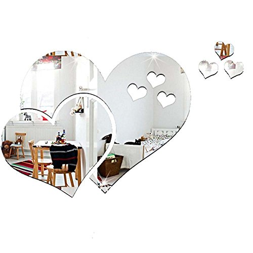 MAXGOODS 2 Pieces 3D Mirror Love Hearts Wall Stickers, Bathroom Toilet Restroom Door Mirror Accessories for Home Room Office, Fashion Cute Removable Family DIY Art Mural Decor Decoration, Silver
