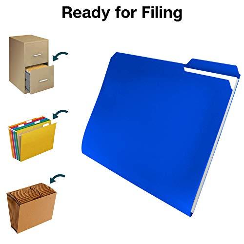 Dunwell Plastic Blue File Folders - (12 Pack of Folders), 3 Tab Folders Plus Removable Labels, Letter Size, Plastic File Folders Colored, 1/3-Cut Tabs, Poly Folders, More Durable Than Manila Folders Photo #5
