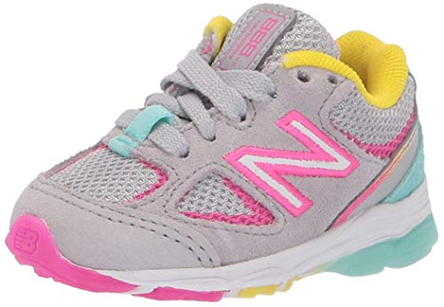 New Balance Kid's 888 V2 Lace-Up Running Shoe, Grey/Rainbow, 13.5 W US Little Kid