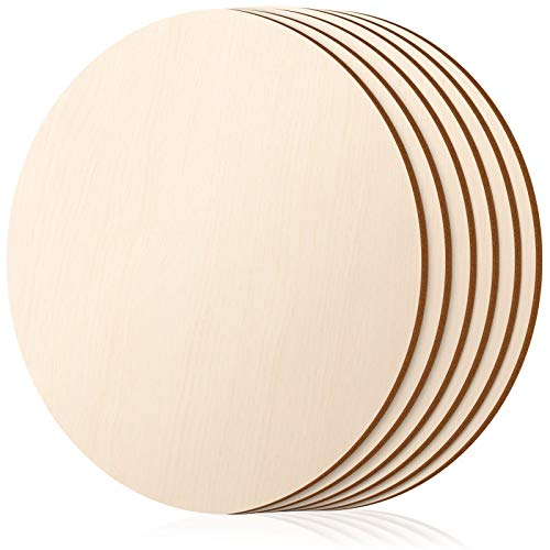 Round Wood Discs for Crafts, Acejoz 6 Pieces 12 Inch Wood Circles Unfinished Wood Round Wooden Cutouts for Crafts, Painting, Door Hanger and Christmas Decorations