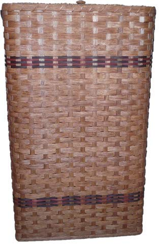 """Primitive Country Hamper Basket with Lid. This Attractive Country Hamper Features a Removable Lid. Put It in the Bedroom, Bathroom, or Laundry Room and It Will Add to Your Country Home Decor. This Hamper Basket Is Another Amish Country Collectible. Hamper Measures 14"""" X 22"""" X 30"""" Tall. This Basket Is Handwoven By the Women of the Old World Order. They Are Known for Their Quality Workmanship. Colors May Vary (Brown, Black, Blue, Red, Green, Purple, Burgundy, Natural)"""