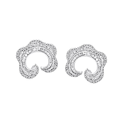 OMEGA JEWELLERY 1.25 Ct Round & Baguette Cut Natural Diamond 14K White Gold C Shape Earrings