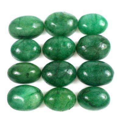 100% Natural Verde Esmeralda 100 Ct - 12 Piezas La mejor calidad Oval Cabujón Verde Esmeralda piedras preciosas sueltas Lot
