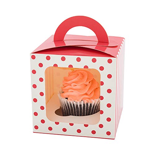 Pastry Tek 4.5 Inch Individual Cupcake Boxes, 100 Polka Dots Cupcake Favor Boxes - Fits 1, With Window, Pink Paper Cupcake Gift Boxes, Built In Handle, For Weddings Or Parties - Restaurantware