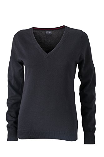 James & Nicholson Damen V-Neck Pullover, Schwarz (Black), 42 (Herstellergröße: XXL)