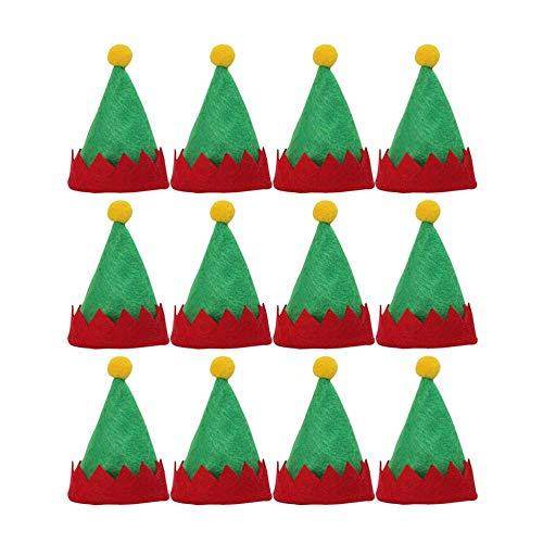 Jfs Mini Christmas Elf Caps Cappelli Lecca-Lecca DecoriCappelli per imballaggio di Caramelle Non tessute Forniture Natalizie per Negozio di Articoli per la casa, 6 Pezzi