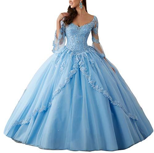 HUINI Ballkleider Lang Spitze Brautkleider Langarm Quinceanera Kleider Prinzessin V-Ausschnitt Hochzeitskleider Meerblau 46