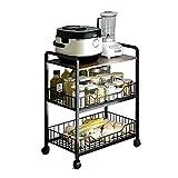 Industrieküche Bäckerregal, Kücheninsel Ablageregal, Kaffeebar Mikrowellenständer mit 4 Haken, Metallrahmen, einfache Montage, Holzregal für Gewürz Gemüse Obst rutschfest