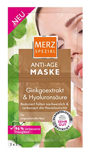 Merz Spezial Anti Age Maske – Gesichtsmaske mit Ginkgoextrakt & Hyaluronsäure – Reduziert Falten & verbessert die Hautelastizität – 2 x 5ml