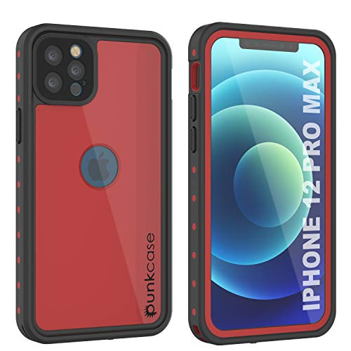 """Punkcase Designed for iPhone 12 Pro Max Waterproof Case [StudStar Series] [Slim Fit] [IP68 Certified] [Dirtproof] [Snowproof] 360 Full Body Armor Cover for iPhone 12 Pro Max (6.7"""") (2020) [Red]"""