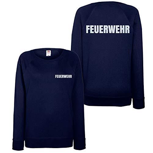Feuerwehr Sweatshirt Damen - Reflektierender beidseitiger Aufdruck Brust & Rücken - viele Dunkelblau (Druck Silber) L