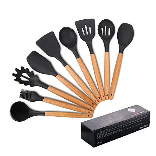 Utensilios de cocina de silicona,mreechan Antiadherente Utensilios Cocina con Mango de madera para utensilios de cocina,Resistente al calor y Antiadherente Utensilios Cocina,Juegos de cocina(9 piezas)
