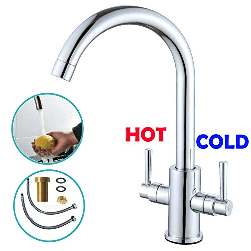 Grifo de cocina moderno para fregadero de latón macizo, diseño resistente, grifo mezclador de filtro giratorio de 360 grados, boquilla giratoria para sistema de agua fría y caliente