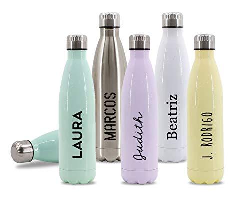 Getsingular Botellas de Agua de Acero Inoxidable Personalizadas con Tu Nombre | Botellas térmicas de Doble Capa | Libre de BPA | Bebidas frías 24h y Calientes 12h | 350 ml / 500 ml / 750 ml