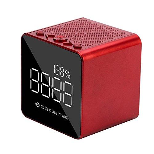 Réveil sans fil stéréo du haut-parleur du réveil de Bluetooth, Enceinte portable multifonctionnel du Bluetooth, Mini haut-Parleur de la carte de la mode du miroir rouge