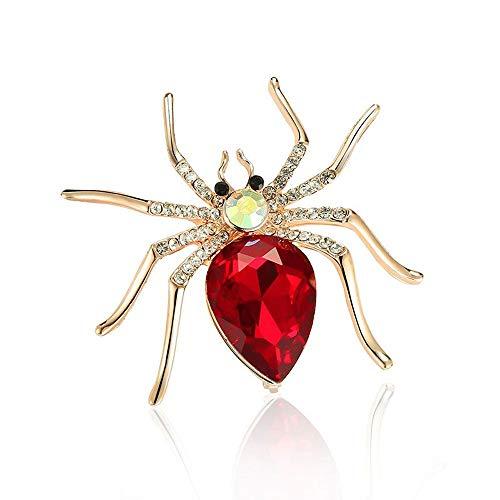Idin Jewellery - Rote Kristall Diamante Spinne Goldfarbene Brosche